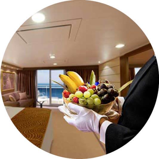 MSC Yachtclub mit Butler und Obst
