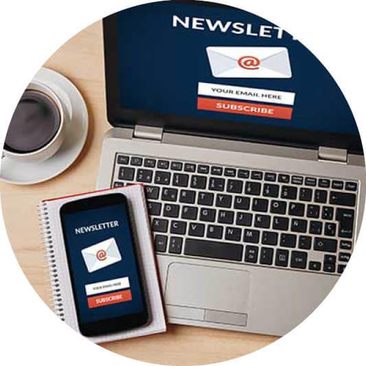 Newsletteranmeldung auf Laptop