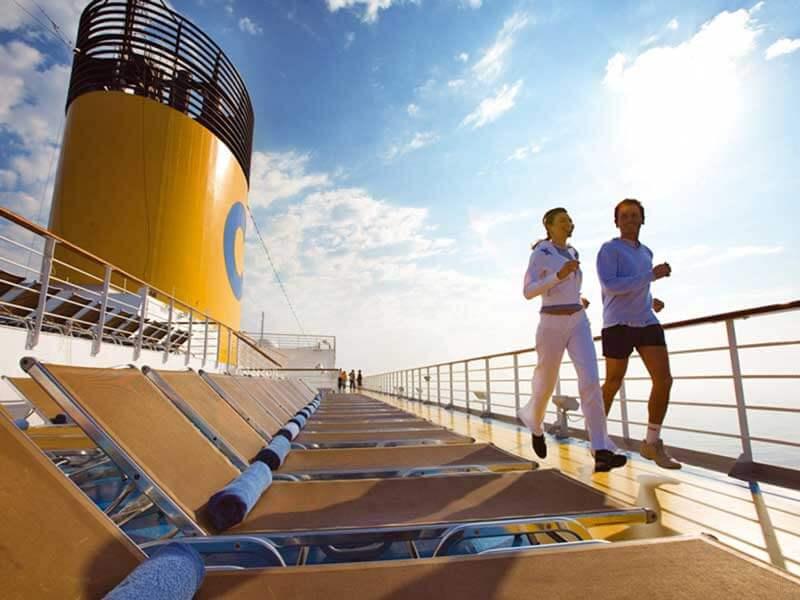 Reedereien Costa Kreuzfahrten Deck Jogging